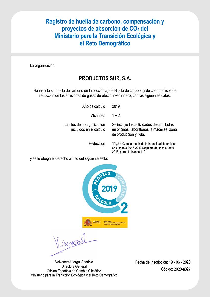 Certificado Huella de Carbono Prosur 2019